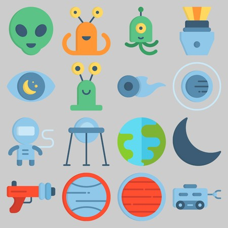 Icon set about Universe with keywords orbit, observation, blaster, moon, capsule and uran Illustration