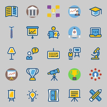 Icon set about school and education with mortarboard, missile, telescope, presentation, user and sharpener.