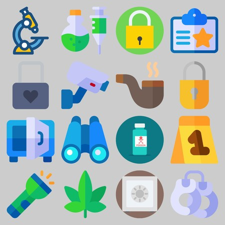 Icon set about Crime Investigation with keywords binoculars, padlock, microscope, marijuana, safebox and poison Illustration
