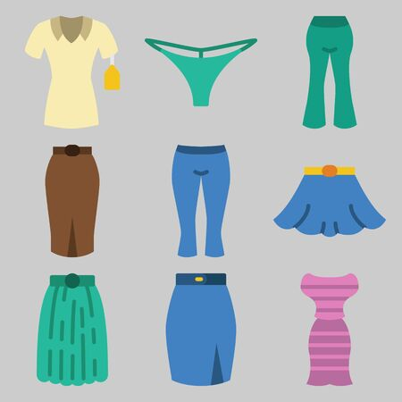 Icon set about Women Clothes with keywords shirt, pants, skirt, dress and thong