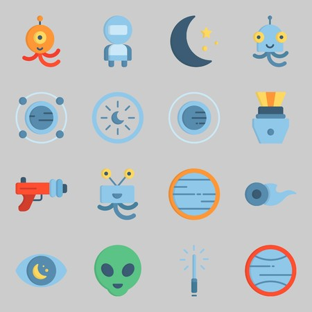 Icon set about universe with astronaut, astrology and orbit.
