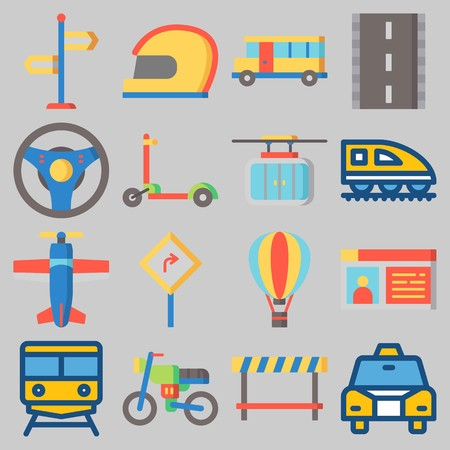 Icon set about Transportation with keywords train, hot air balloon, cable car, bus, steering wheel and helmet Ilustracja