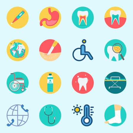 Icon set about medical with stretcher, stomach, wheelchair, stethoscope, thermometer and surgery. Illustration