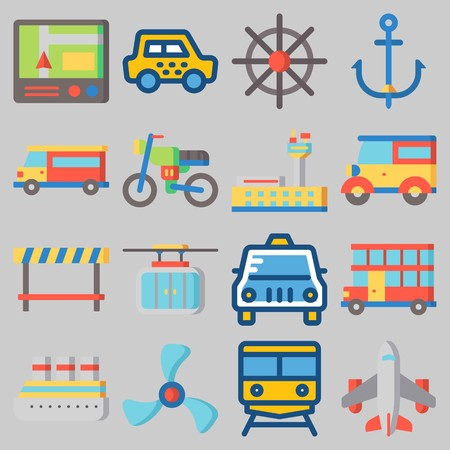 Icon set about transportation with cab, steering wheel, anchor, truck and airplane. Illustration