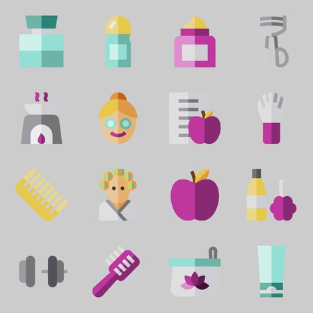 Icon set about beauty with diet, cologne, face, apple, eyelashes curler and aromatherapy.