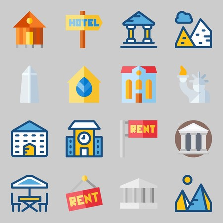 Icon set about construction with terrace, monumental and buildings. Иллюстрация