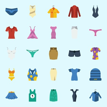 Icon set about women clothes with sleeveless, thong, panties, dress, shirt and shorts.