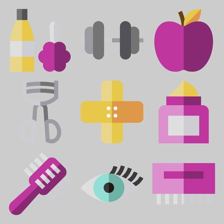 Icon set about beauty with apple, plaster, hair brush and cosmetic container.