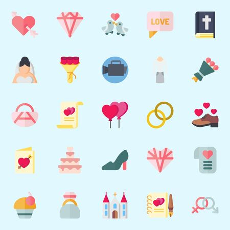 Icon set about wedding with shoe, balloons, bouquet, cupid and wedding rings.