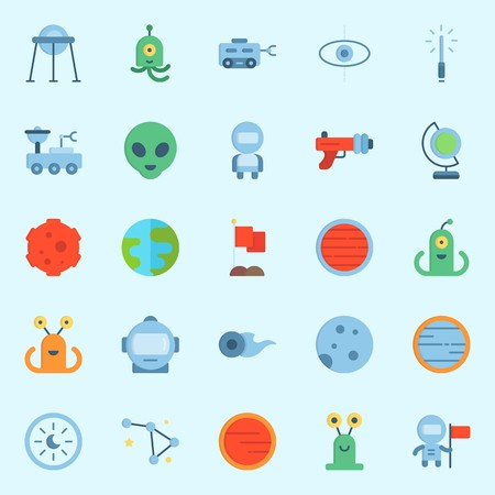 Icon set about universe. with constellation, capsule, astronaut, earth and planet.