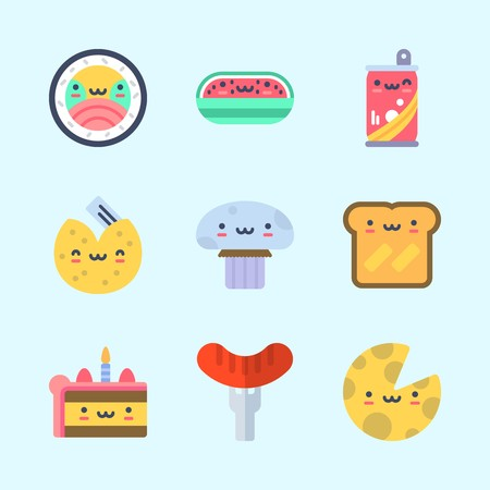 Icon about food with watermelon, cheese, hot dog, soda, toast and fortune cookie. Standard-Bild - 95607335