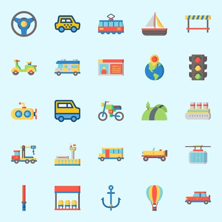 Icon set about transportation with car, steering wheel, stick, airport, scooter and road block.