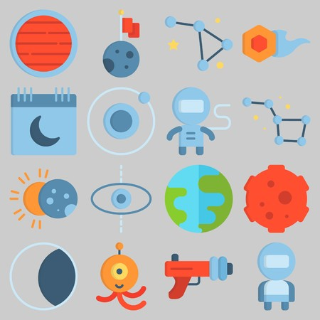 Icon set about Universe with keywords moon, eclipse, comet, astronaut, planet and calendar