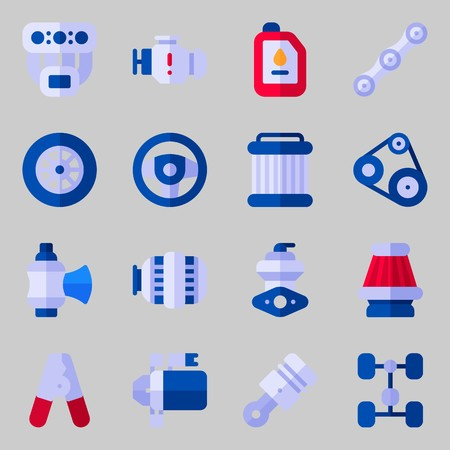Icon set about car engine with starter, air filter, piston, pliers, manifold and chassis.
