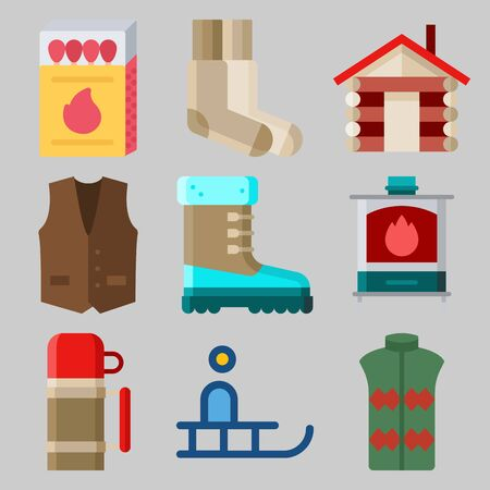 Icons set about Winter with sleigh, thermo, stove, house, vest and boot
