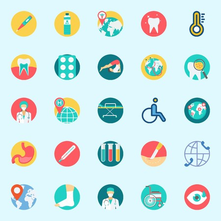 Icon set about medical with yoga, stretcher, sprain, thermometer, surgery and location.