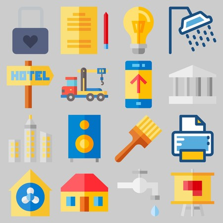 Icon set about Real Assets with keywords crane, truck, painted, monumental, plumbering and hotel Иллюстрация