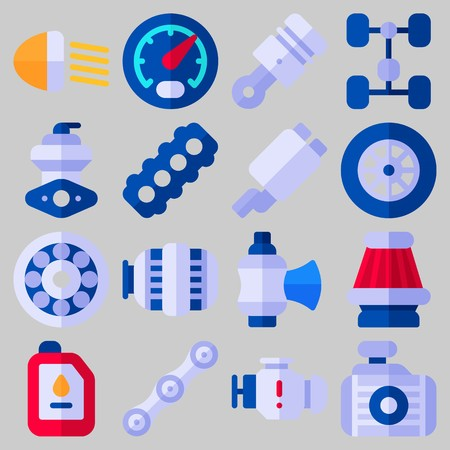 Icon set about Car Engine with keywords piston, motor, air filter, chain, wheel and oil