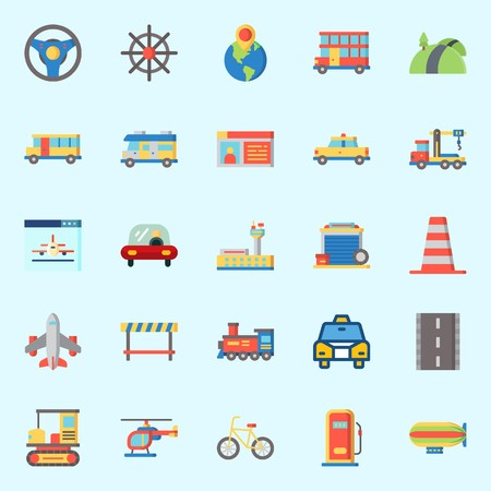 Icon set about transportation with driving license, road block, double decker, plane, bus and helicopter.
