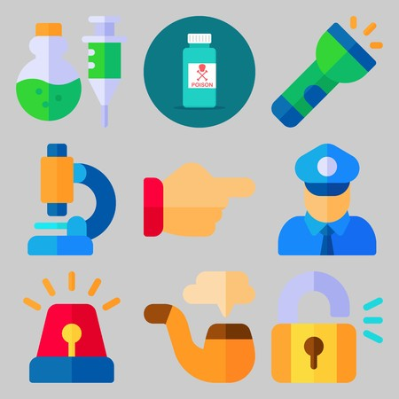 Icon set about crime investigation with flash light, police, padlock, police alarm and microscope.