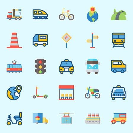 Icon set about transportation with motorbike, cruise ship, location, road sing, cone and destination. Ilustração