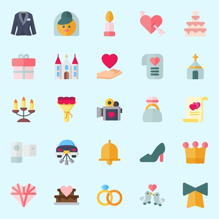 Icon set about wedding with camcorder, suit, engagement ring, love letter, bow and bride. Illustration