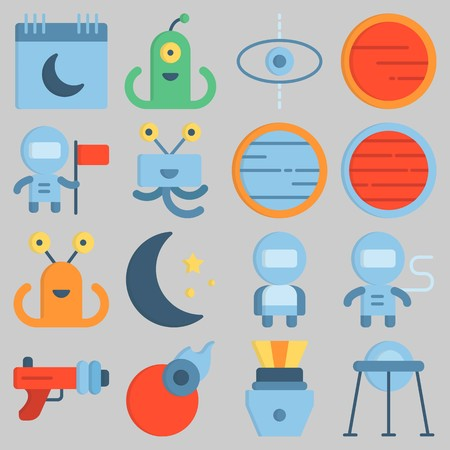 Icon set about Universe with keywords astronaut, comet, mars, blaster, alien and moon