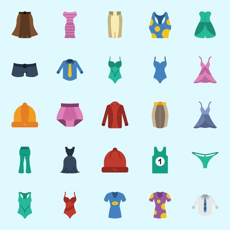 Icon set about women clothes.with winter hat, swimsuit, thong, panties, skirt and tank top.