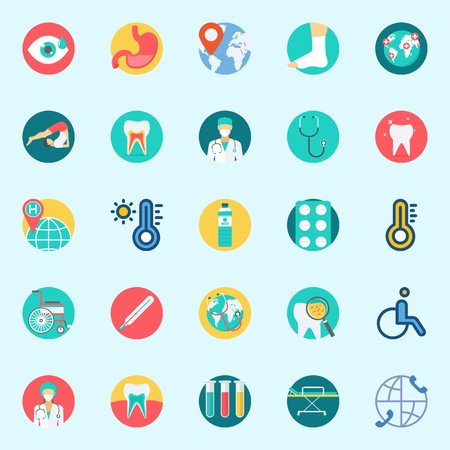 Icons set about Medical. with tablets, thermometer, wheelchair, teeth, stethoscope and test tubes Illustration