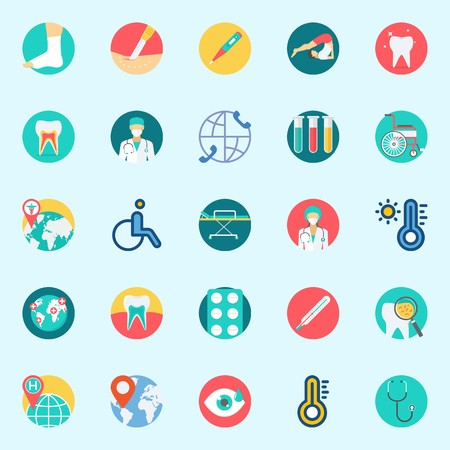 Icon set about Medical. with test tubes, tablets, sprain, tooth, stretcher and surgeon Illustration