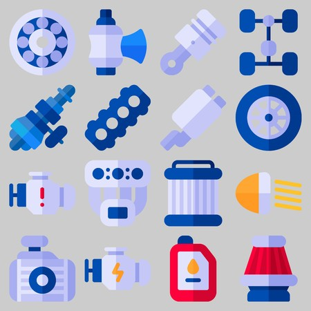 Icon set about Car Engine and parts Illustration