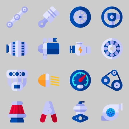 Icons set about Car Engine. with belt, gauge and engine