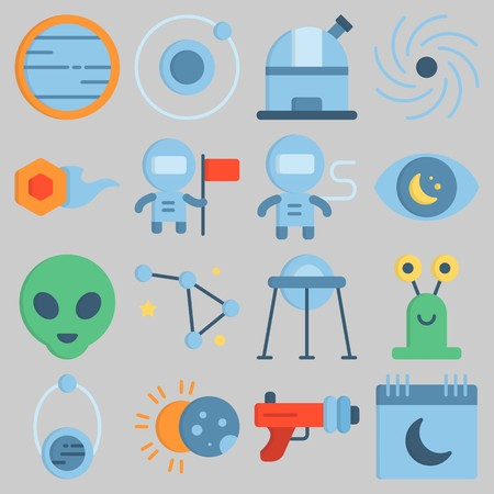 Icon set about Universe with keywords alien, capsule, black hole, venus, comet and observatory
