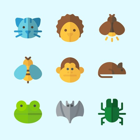 Icons about Animals with bat, hedgehog, cat, bug, rat and wasp