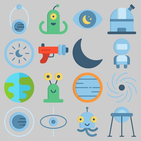 Icon set about Universe with keywords observatory, capsule, planet, observation, alien and orbit Illustration