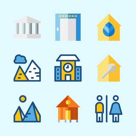 Icons about Construction with school, monumental, rent, pyramids, real estate and elevator Иллюстрация