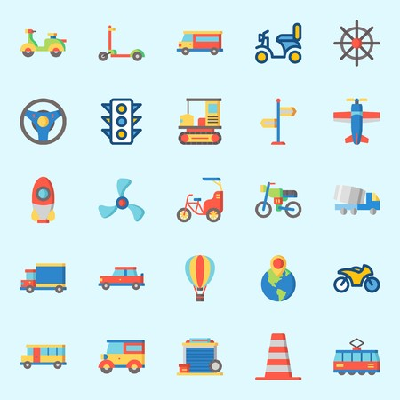 Icons set about Transportation. with garage, car, motorbike, direction sing, bus and van
