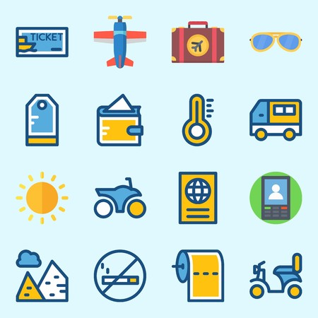 icons set about Travel. with sun, toilet paper, wallet, tag, pyramids and mo smoking