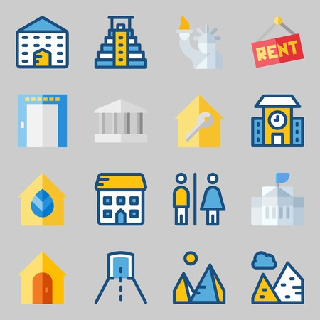 Icon set about construction with toilet, for rent and pyramid.