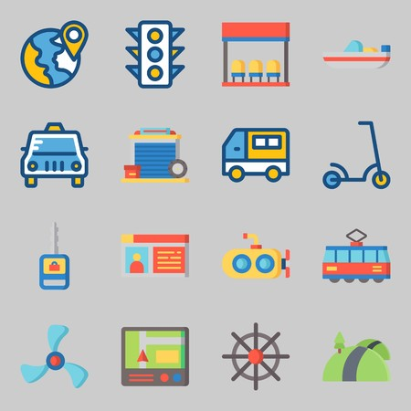 Icons set about Transportation. with submarine, rudder and tram