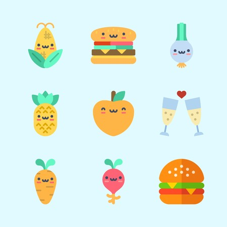 Icons about Food with pineapple, scallion, toast, hamburger, corn and peach 向量圖像