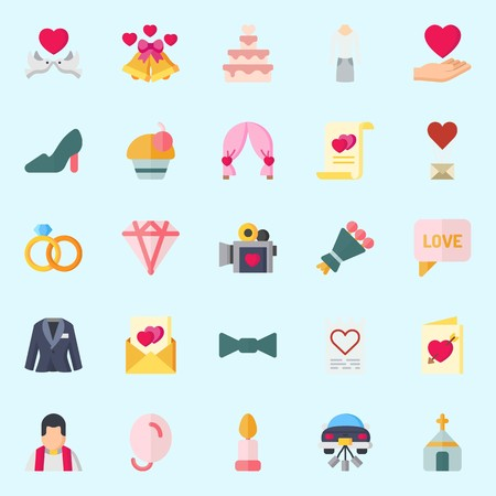 Icon set about Wedding. with love, love birds, cupcake, wedding bells, candle and church