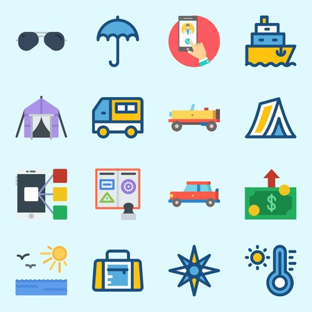 icons set about Travel. with money, van, car, sunglasses, sport bag and sun