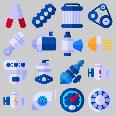 Icon set about Car Engine with keywords wheel, pilers, belt, valve, piston and pulley