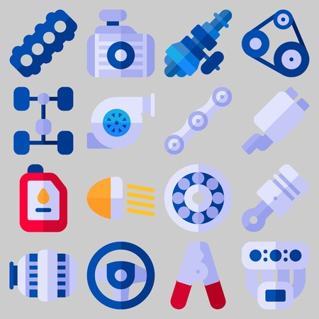 Icon set about Car Engine with keywords pilers, sreering wheel, radiator, wheel, exhaust pipe and manifold
