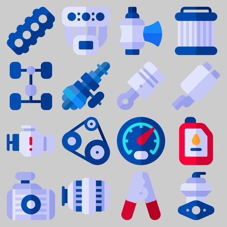 Icon set over automotor met trefwoorden uitlaatpijp, chassis, katrol, olie, radiator en zuiger