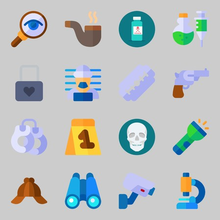 Icon set about crime investigation with microscope, poison, binoculars, security camera, padlock and skull. Vettoriali