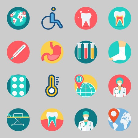 Icon set about medical with worldwide, test tubes and tooth.