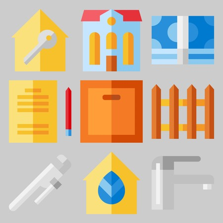 Icon set about real assets with building, wooden fence and faucet.
