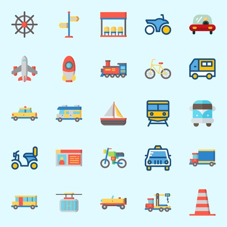 Icon set about transportation with truck, airplane, locomotive, bus, rocket and sail boat.